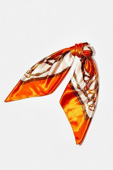 Orange Chain Buckle Print Satin Scarf