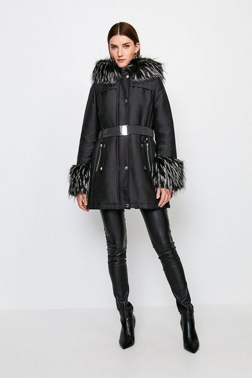 Black Faux Fur Trimmed Parka Coat