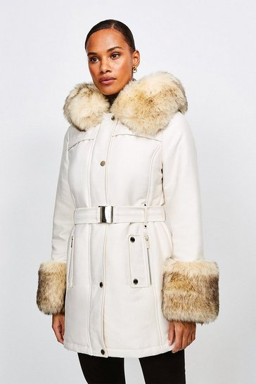 Cream Faux Fur Trimmed Parka Coat