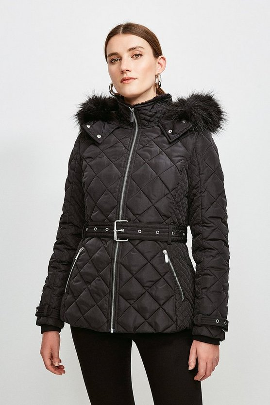 Black Short Quilted Belt Coat