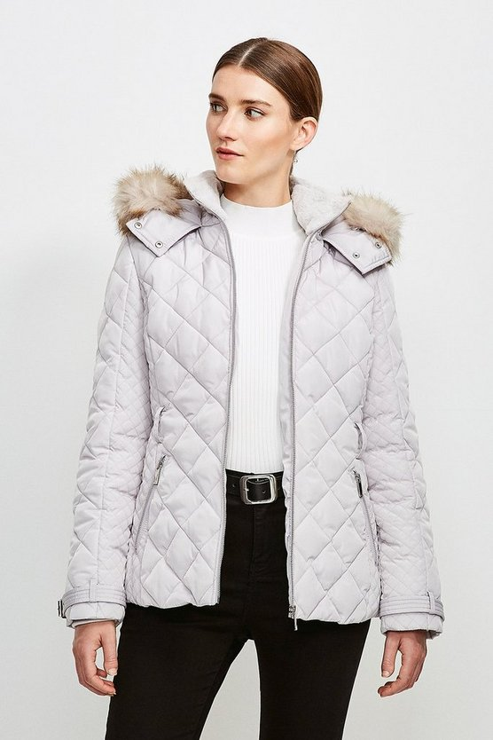 Silver grey Short Quilted Belt Coat