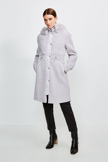Silver grey Long Quilted Faux Fur Trimmed Hood Coat