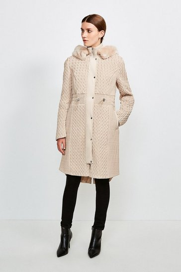 Stone Long Quilted Faux Fur Trimmed Hood Coat
