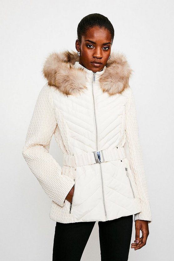 Ivory Short Quilted Faux Fur Trimmed Hood Coat