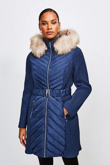 Navy Long Quilted Faux Fur Trimmed Hood Coat
