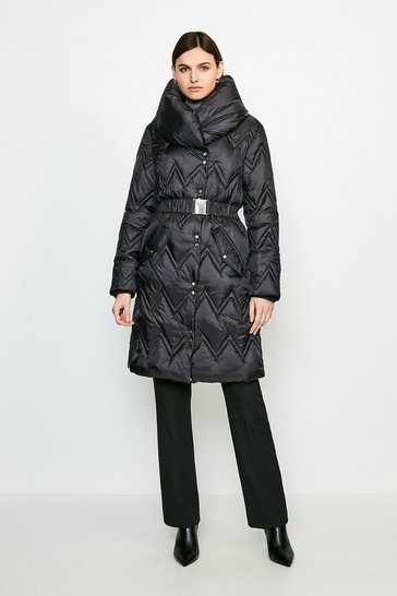 Black Long Quilted Padded Collar Coat