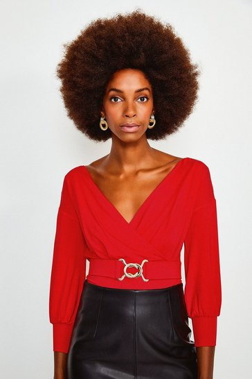 Red Wrap Front Jersey Long Sleeve Top