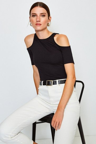 Black Cold Shoulder Ponte Top