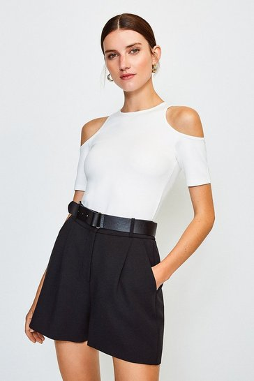 Ivory Cold Shoulder Ponte Top