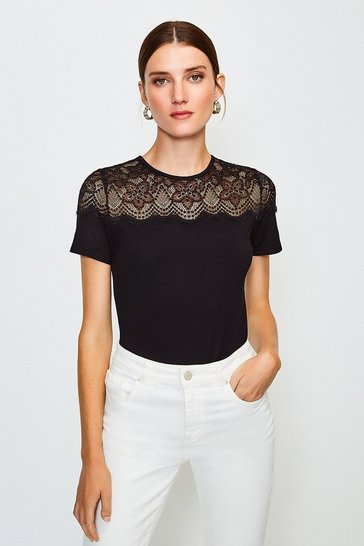 Black Lace Jersey Short Sleeve Top