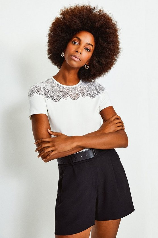 Ivory Lace Jersey Short Sleeve Top