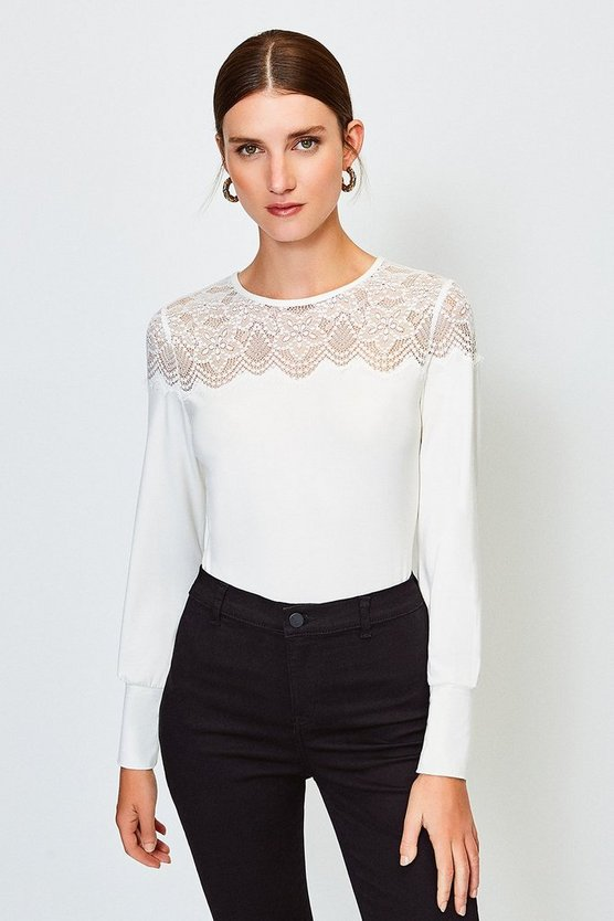 Ivory Lace Jersey Long Sleeve Top