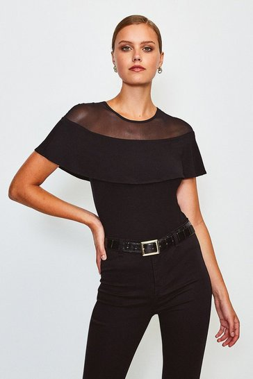 Black Jersey Ruffled Mesh Top