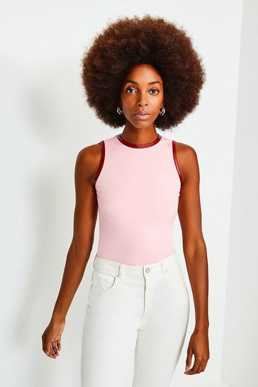 Peach Racer Sleeveless Ponte Top