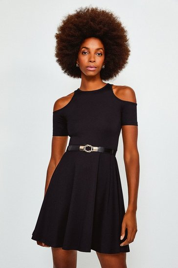 Black Cold Shoulder Ponte Skater Dress