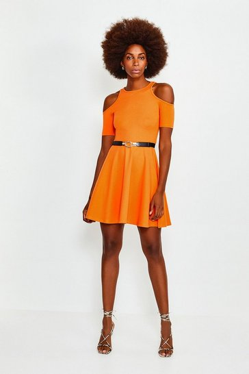 Orange Cold Shoulder Ponte Skater Dress