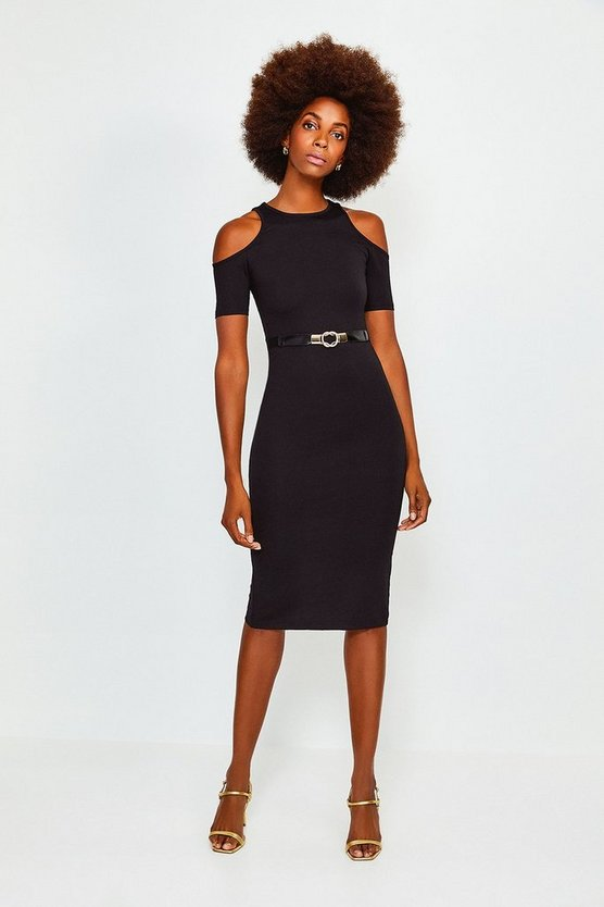 Black Cold Shoulder Ponte Midi Dress