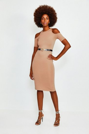 Cappucino Cold Shoulder Ponte Midi Dress