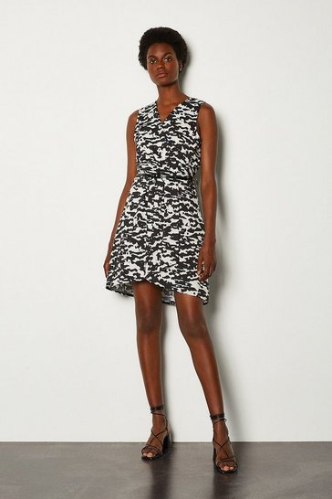 Black Animal Print Sleeveless Wrap Short Dress