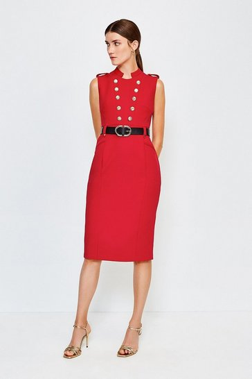 Red Tailored Button Military Dress