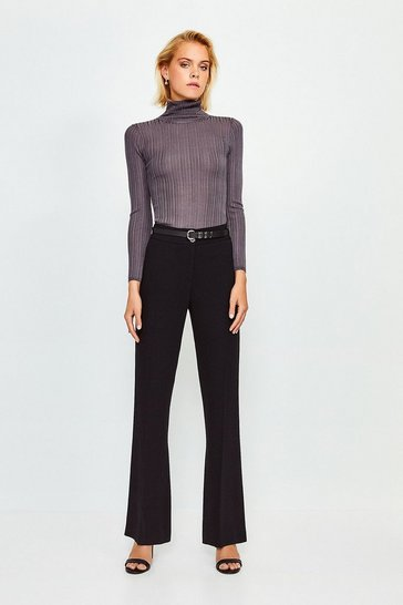 Black Wool Blend Belted Classic Straight Trousers