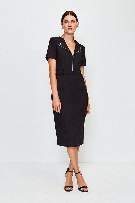 Black Zip Placket Short Sleeve Pencil Dress