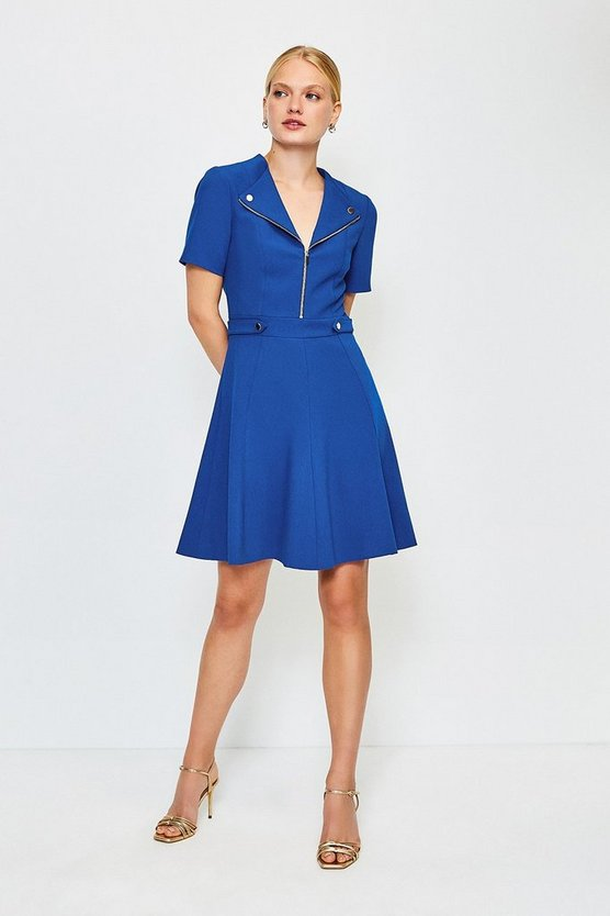 Blue Zip Placket Short Sleeve A-Line Dress