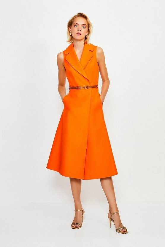 Orange Belted Collar Wrap Dress