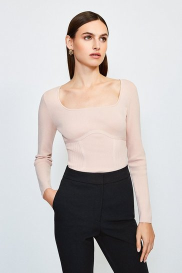 Powder pink Long Sleeve Rib Knitted Square Neck Top