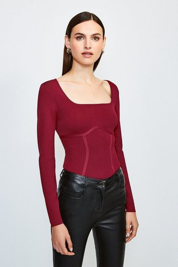 Red Long Sleeve Rib Knitted Square Neck Top