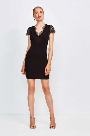 Black Lace Detail Knitted Dress