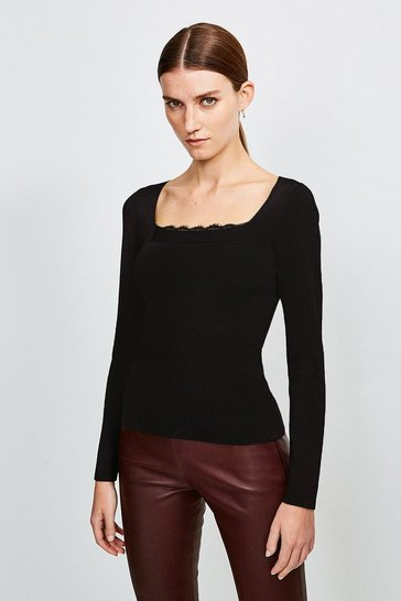 Black Lace Trim Knitted Top