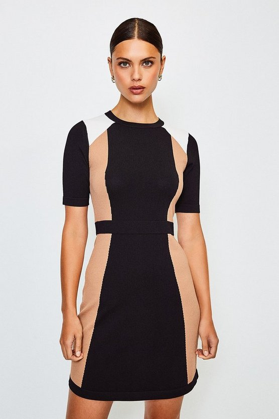 Black Colour Block Knitted Dress