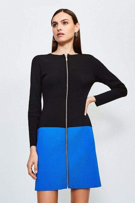 Black Colour Block Zip Front Knitted Dress