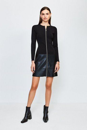 Black Faux Leather Hem Knit Dress