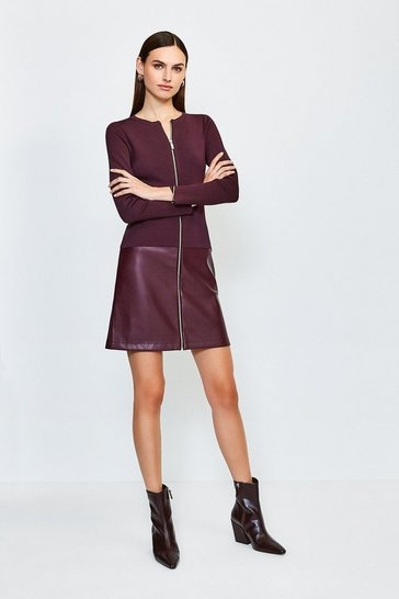 Fig Faux Leather Hem Knit Dress