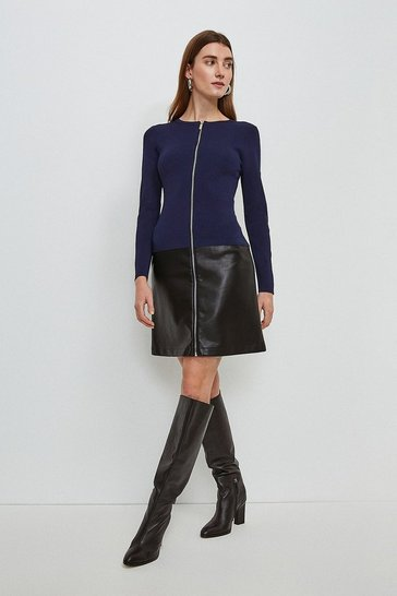 Navy Faux Leather Hem Knit Dress