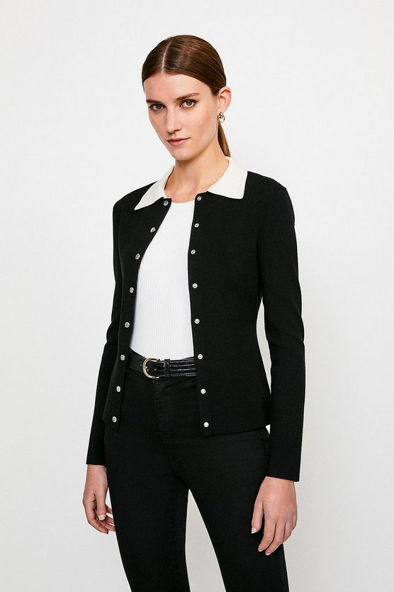 Blackwhite Milano Knit Collared Cardigan