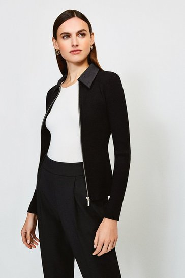 Black Collared Knitted Cardigan