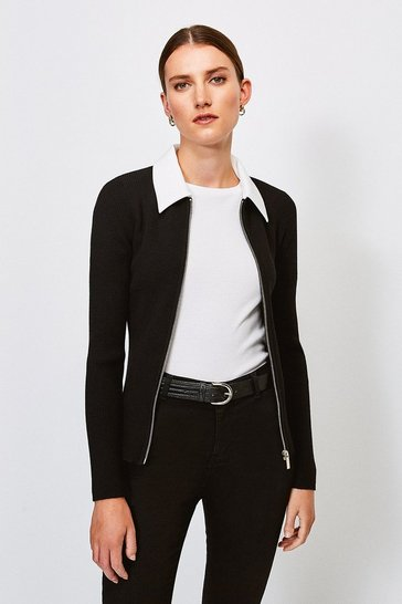 Blackwhite Collared Knitted Cardigan
