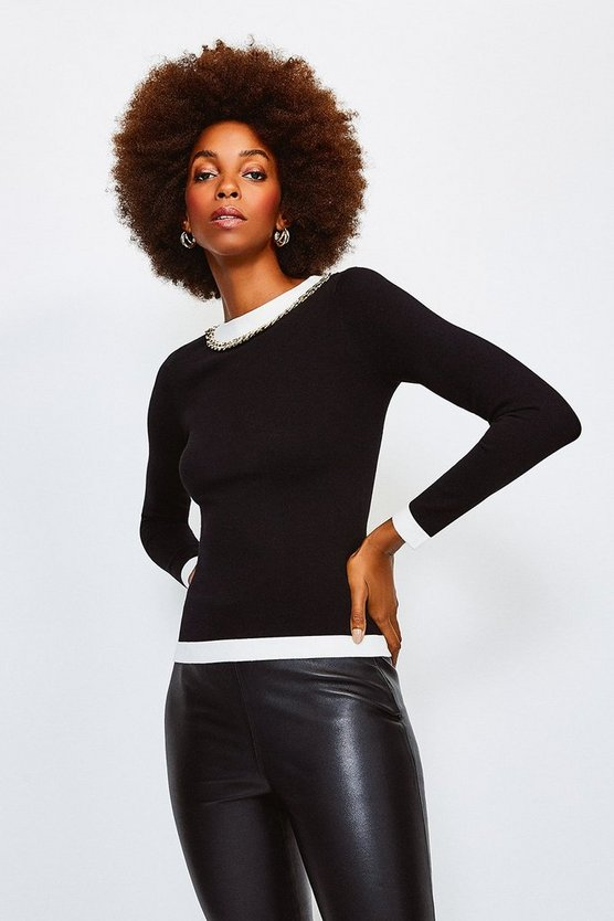 Black Mono Chain Neck Knitted Top