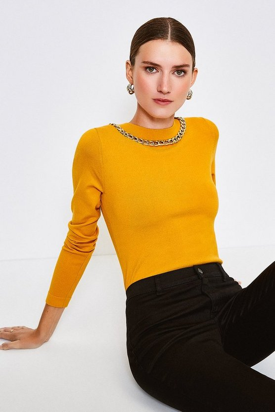 Gold Mono Chain Neck Knitted Top
