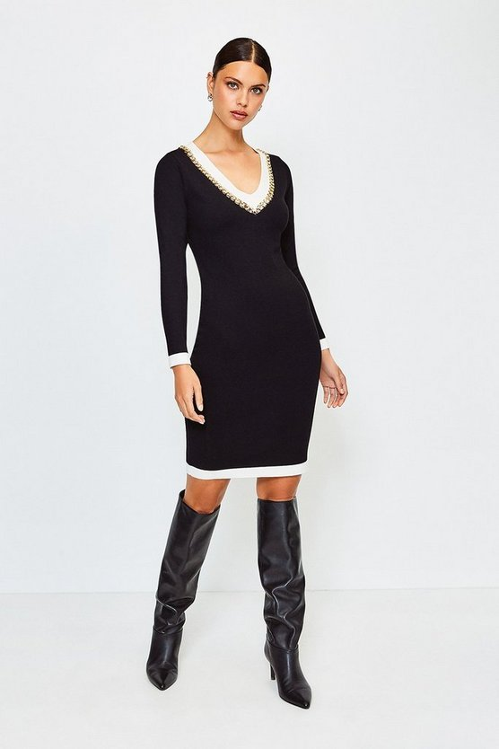 Blackwhite Chain Insert Knitted Dress