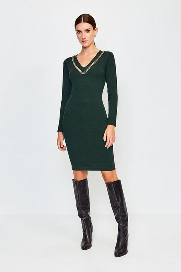 Green Chain Insert Knitted Dress