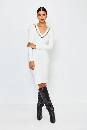 Ivory Chain Insert Knitted Dress