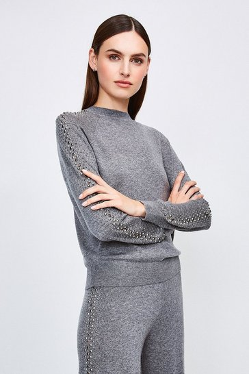 Grey Embellished Soft Touch Knitted Jumper