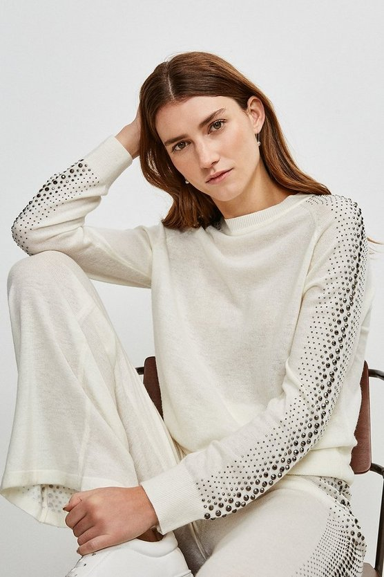 Ivory Embellished Soft Touch Knitted Jumper