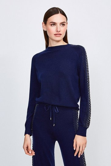 Navy Embellished Soft Touch Knitted Jumper