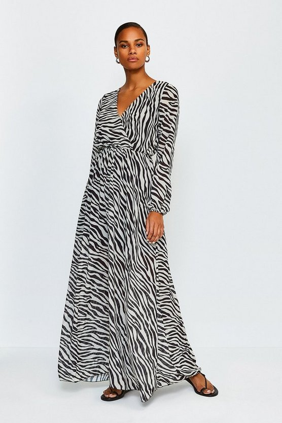 Black Zebra Print Long Sleeved Wrap Maxi Dress
