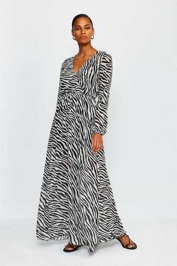 Black Zebra Long Sleeved Wrap Maxi Dress